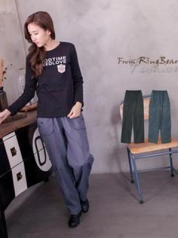 Button-Accent Drawstring Oversized Casual Pants