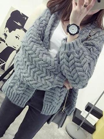 Cable-Knit Open-Front Cardigan