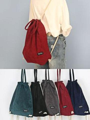 Drawstring Corduroy Backpack