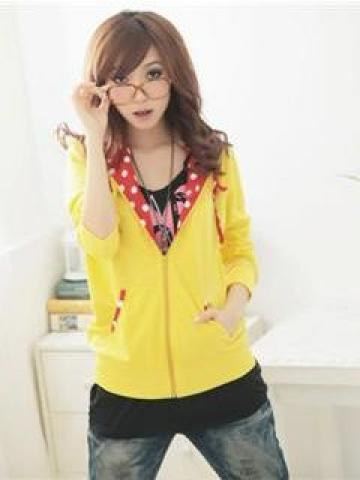 Ear-Accent Hooded Jacket Yellow - One Size