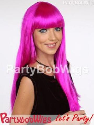 PartyBobWigs - Deluxe Capless Party Long Bob Wig - Neon Violet Neon Violet - One Size