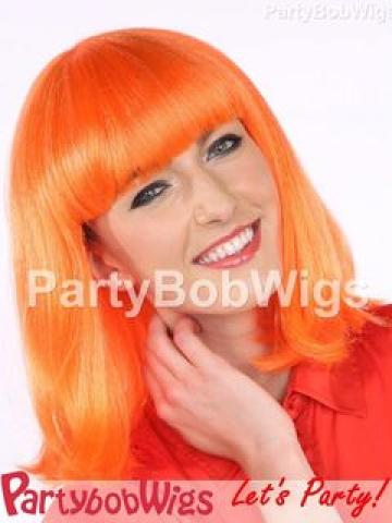PartyBobWigs - Deluxe Capless Party Medium Bob Wig - Orange Orange - One Size