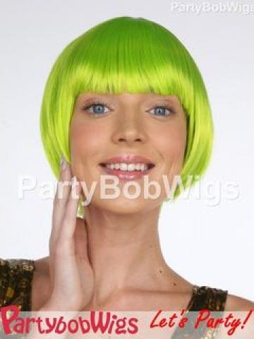 PartyBobWigs - Deluxe Capless Party Tapered Bob Wig - Neon Lime Neon Lime - One Size