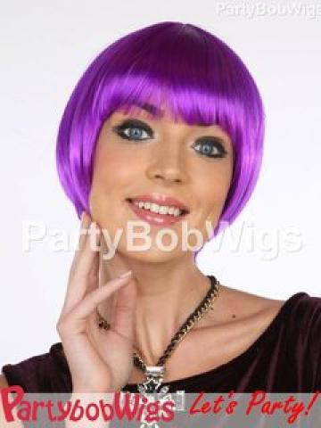 PartyBobWigs - Deluxe Capless Party Tapered Bob Wig - Neon Purple Neon Purple - One Size