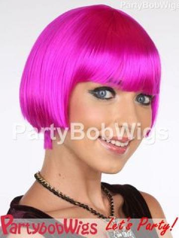PartyBobWigs - Deluxe Capless Party Tapered Bob Wig - Neon Violet Neon Violet - One Size