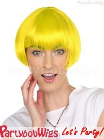 PartyBobWigs - Deluxe Capless Party Tapered Bob Wig - Yellow Yellow - One Size
