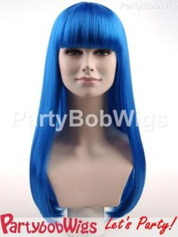 PartyBobWigs - Party Long Bob Wig - Blue Blue - One Size