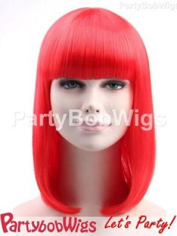 PartyBobWigs - Party Medium Bob Wig - Red Red - One Size