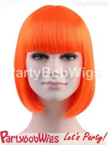 PartyBobWigs - Party Short Bob Wig - Neon Orange Neon Orange
